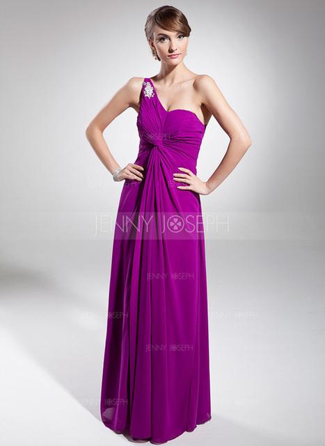 [€ 119.00] A-Line/Principessa Monospalla Tè-lunghezza Chiffona Abito da sera con Increspature Perline Di Appliques (017014687)   wedding dress   Scoop.it