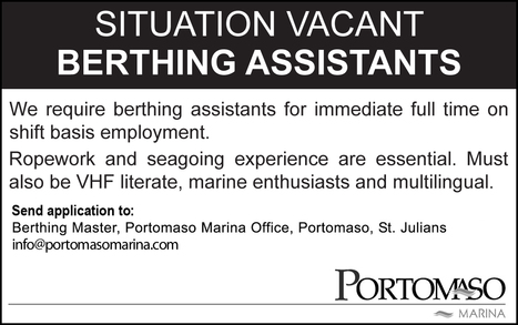 Job Opportunity: Full-Time Berthing Assistant | Career opportunities | Scoop.it