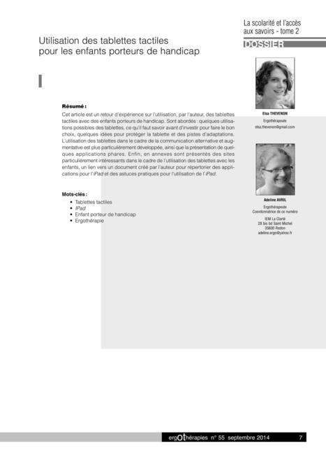 Tablettes tactiles - Elsa THEVENON Ergothérapeute | L'e-école | Scoop.it