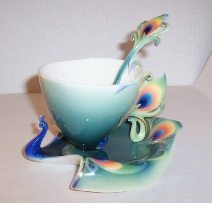 "Franz Peacock ""Luminescence"" Cup, Saucer & Spoon Set - The Vintage Village 