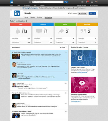 Linkedin ajoute un tableau de bord de notifications aux pages entreprises | e-REPUTATION par Linexio | Scoop.it