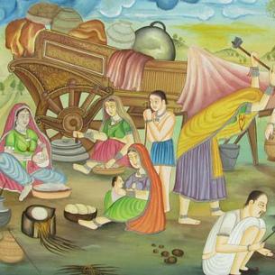 eyesofindia.com Presents Village Scene Miniature Painting on Silk | eyesofindia | Scoop.it