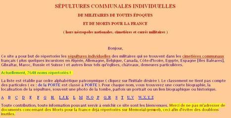 Site du jour (234) : sépultures militaires individuelles | Ma Bretagne | Scoop.it