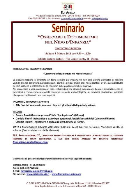 Formazione Anicia: Osservare e documentare nel Nido d'Infanzia - Sabato 8 Marzo 2014   Formazione Anicia   Scoop.it