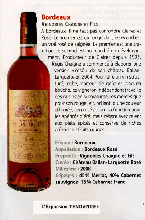 "Chateau Ballan-Larquette Bordeaux rosé dans ""L'Expansion"" (juin 2009) 