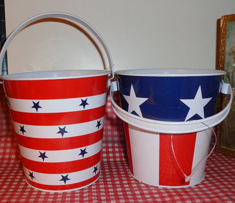 Patriotic 4th July  beach pail tin bucket with handle party favors centerpieces | Rebecca Events | Scoop.it