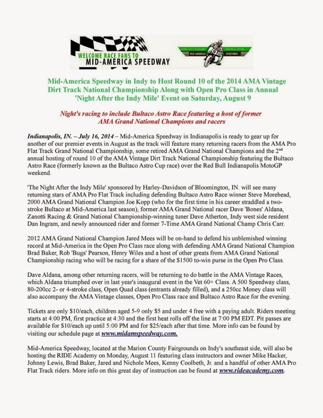 Don't Forget About Mid-America Speedway's 'Night After the Indy Mile' This Saturday, August 9 | California Flat Track Association (CFTA) | Scoop.it