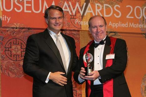 """Celebrating 25 Years of iEARN: """"Dr. Ed Gragert (r.) receiving Tech Museum Award from Microsoft's Dan'l Lewin, 2004"""" 