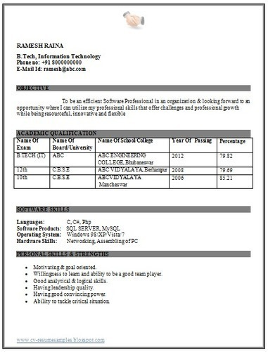 resume format for computer engineering students