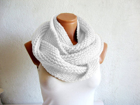 2014 Winter Sale-Handmade knitted infinity scarf,infinity scarf Block Infinity Scarf. Loop Scarf, Circle Scarf, Neck Warmer. by WomanStyleShop | women fashion | Scoop.it