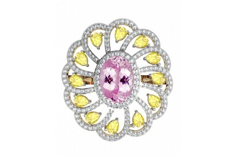 Buy Ethereal Kunzite & Yellow Sapphire Cocktail Ring | Diamond Solitaire Ring | Scoop.it