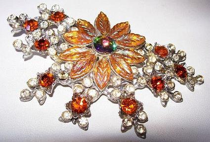 "Art Deco Brooch Pin Yellow Givre Art Glass Rivoli & Orange Rhinestones HUGE Flower Design 4"" | vintage jewelry | Scoop.it"