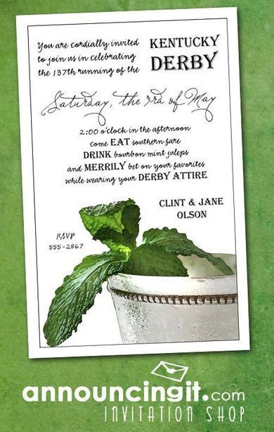 Mint Julep Kentucky Derby Party Invitations | Party Invitations | Scoop.it