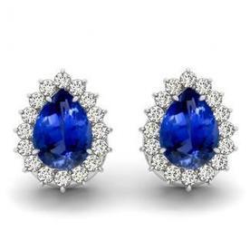 1.10 ctw Pear Tanzanite Earring With .32ctw Diamonds in 14k White Gold | Tanzanite Earrings | Scoop.it