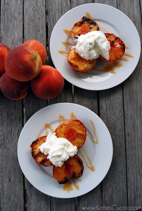 Grilled Peaches with Caramel Sauce and Whipped Cream | Katie's ... | Delectable Desserts | Scoop.it