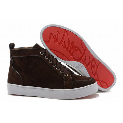 Christian Louboutin Rantus Orlato High Top Mens Sneakers Brown Suede | new and fashion list | Scoop.it