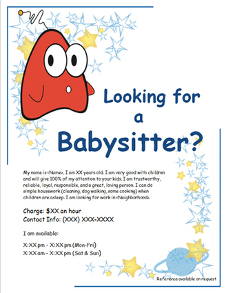 Free Babysitting flyers  templates and ideas babysitting Scoopit v1mbFMPg