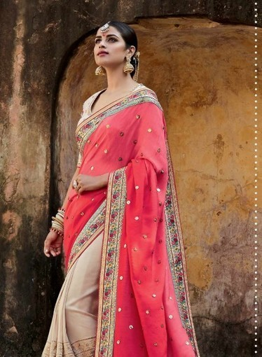 Peach & Beige half half tusser silk saree with floral embroidery blouse | Indian Ethnic Wear | Scoop.it