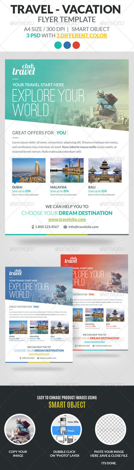 Travel - Vacation Flyer Template (Holidays) | Travel | Scoop.it