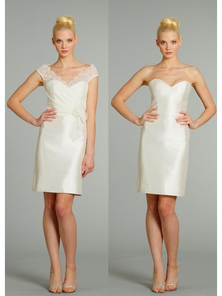 Satin,Lace Sheath Sweetheart Sleeveless Self-Fabric Flower Knee Length Ivory Cocktail Dresses LBS1095 | prom dress | Scoop.it
