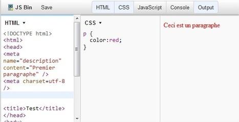 JSBin : Édition en ligne de Code HTML et CSS | TICE, Web 2.0, logiciels libres | Scoop.it