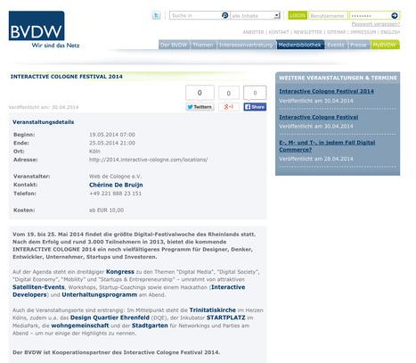 Interactive Cologne Festival 2014 - Aktuelles / Medienbibliothek BVDW   Web de Cologne   Scoop.it