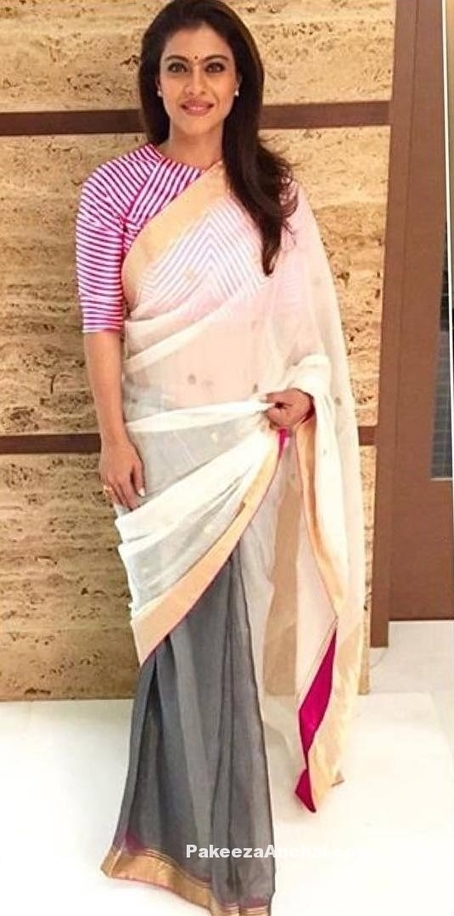 Kajol wearing a Tranparent Double Color Saree with Half Sleeve Blouse by Raw Mango | Indian Fashion Updates | Scoop.it