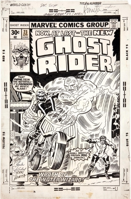 "The cover to GHOST RIDER #23 by Jack Kirby, inker... | Jack ""King"" Kirby 