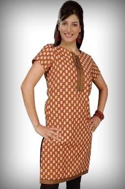 Brown Designer Cotton Kurti for SALE | KURTIS | Scoop.it