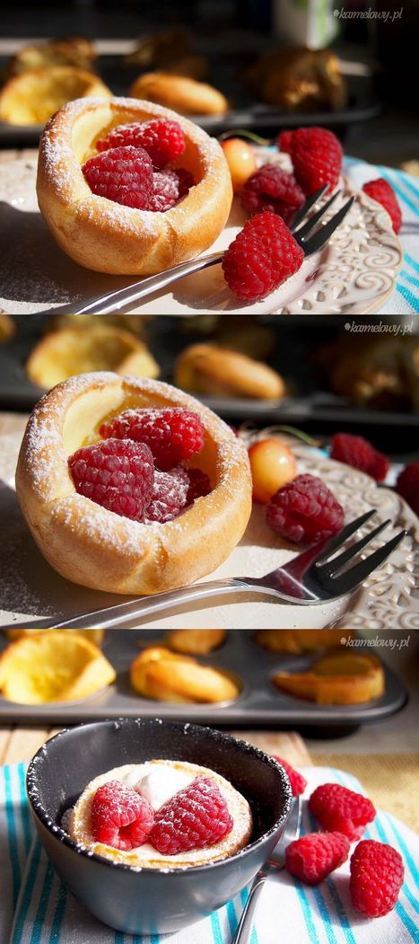 Koszyczki z mini omletów z owocami / Mini dutch baby berry baskets | The Man With The Golden Tongs Hands Are In The Oven | Scoop.it