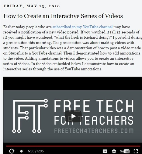 Free Technology for Teachers: How to Create an Interactive Series of Videos #dailysswscoop | Engaging Therapeutic Resources and Activities | Scoop.it