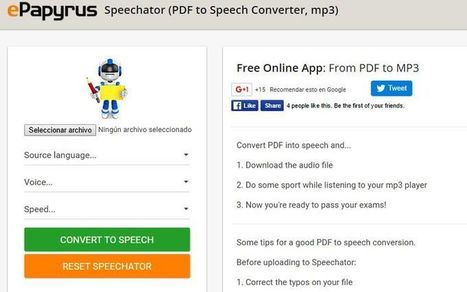 Speechator: utilidad web que lee tus PDF y los convierte a Mp3 | Searching & sharing | Scoop.it