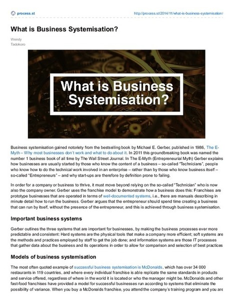 What is Business Systemisation? | Business Process Management | Scoop.it