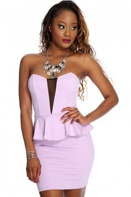 Lilac Strappy Cut Out Peplum Sexy Dress   The Season's Hottest Styles from Pink Basis   Scoop.it