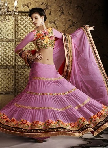 Pink Lehnga Choli In Net & Viscose with Patchwork GF6140665. Buy online today   Bridal Lehengas   Scoop.it