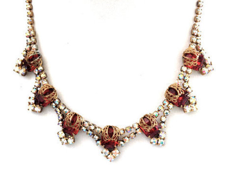 Vintage Red and Aurora Borealis Crystal Necklace | Vintage Jewelry | Scoop.it