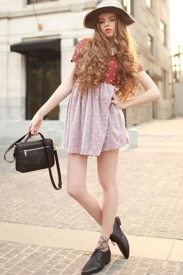 Contrast Color Polka Dot Printing Dress - OASAP.com | Sweet Lolita | Scoop.it