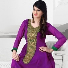 Violet Faux Georgette Salwar Kameez | Strollay.com | Scoop.it