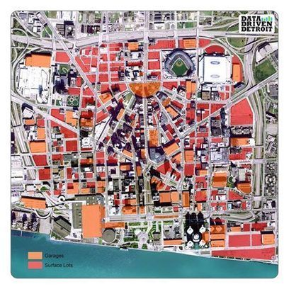 Parking vs. Everything Else: An Aerial Map of Downtown Detroit | Streetsblog Capitol Hill | Urbanati | Scoop.it
