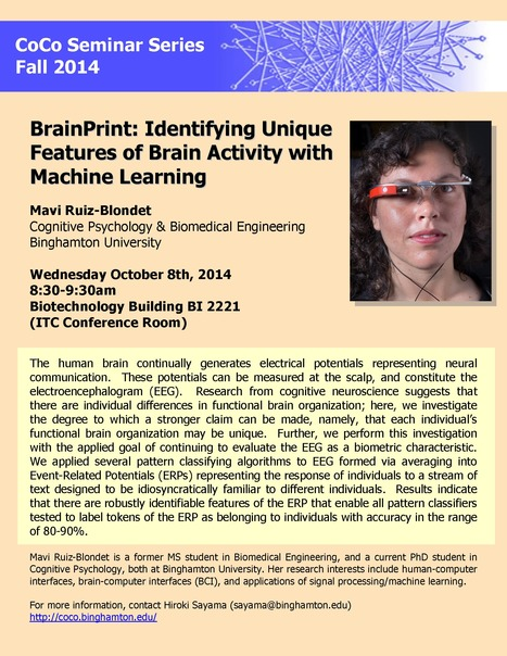 "Next CoCo Seminar on Wed. Oct. 8 by Mavi Ruiz-Blondet: ""BrainPrint: Identifying Unique Features of Brain Activity with Machine Learning"" 