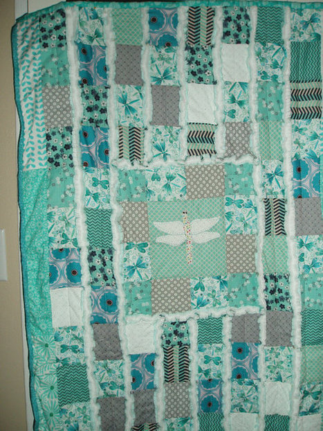 "Gorgeous Original ""Dragonfly Dreams"" Memory Baby Quilt Gentle teal, white, gray Hand Embroidered Heirloom Rag Quilt 