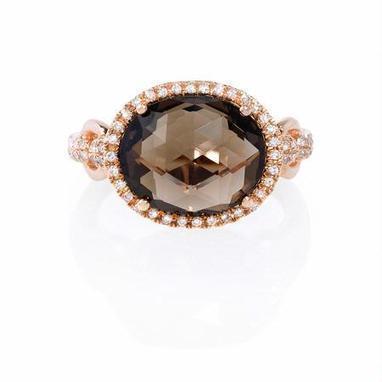 Diamond and Smokey Topaz 14k Rose Gold Ring | Riveting Rings | Scoop.it