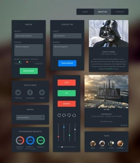 Dark UI Kit - Fribly | flat ui | Scoop.it