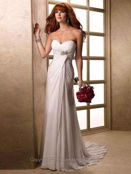 Sheath/Column Sweetheart Chiffon Court Train Crystal Brooch Wedding Dresses   2014 wedding dress online   Scoop.it