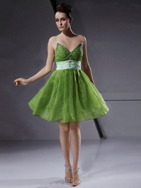 A-line Sweetheart Organza Knee-length Beading Cocktail Dresses at sweetquinceaneradress.com | SWEET 16 DRESSES | Scoop.it