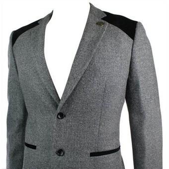 Mens Grey Vintage Tweed Blazer Jacket Black Velvet Elbow Smart Casual | Mens clothing | Scoop.it