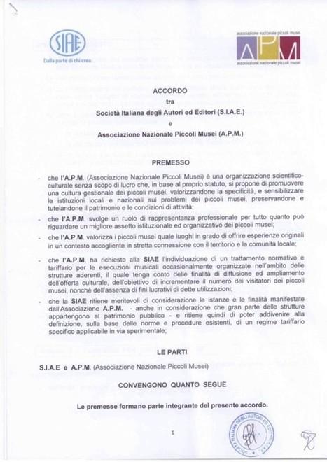 Accordo Piccoli Musei / SIAE 2016 | Associazione Nazionale Piccoli Musei | Accoglienza turistica | Scoop.it