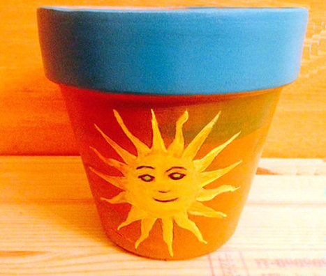 The Sun Hand Painted on 4.5 Inch Terra Cotta Red Clay Pot Made to Order | Antiques n' Oldies | Scoop.it