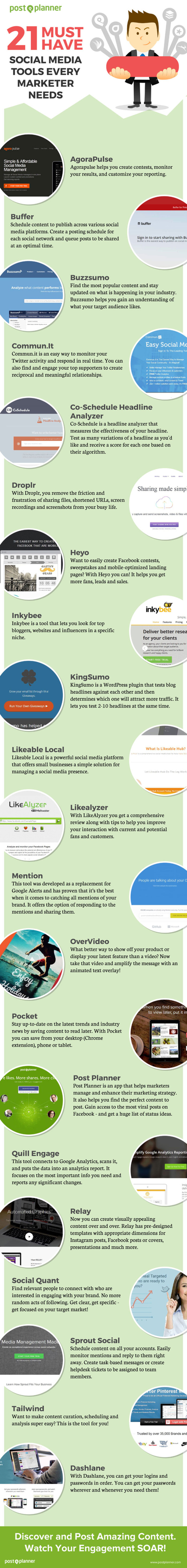 21 Must Have Tools Your Social Media Marketing Strategy Needs | Infographics | Scoop.it
