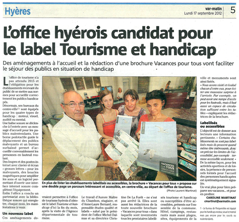 Label tourisme et handicap   Revue de presse   Scoop.it